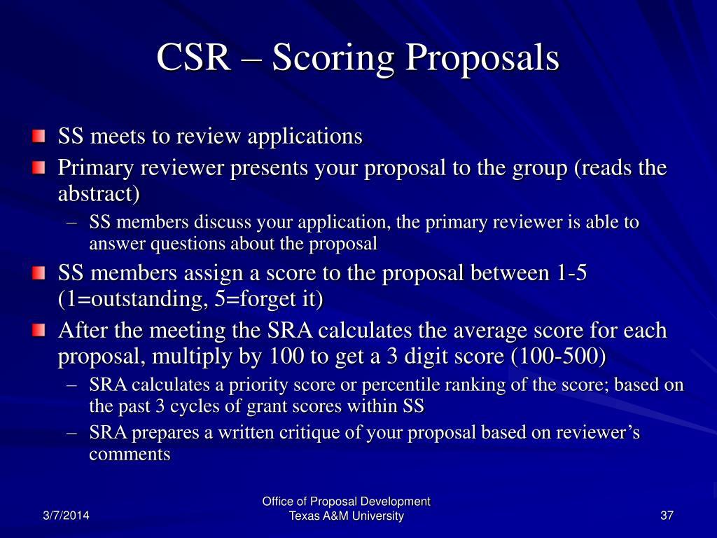 CSR – Scoring Proposals
