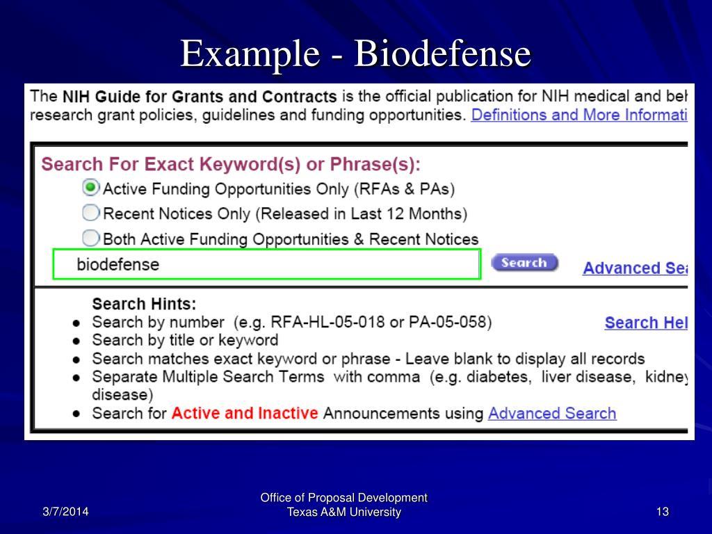 Example - Biodefense