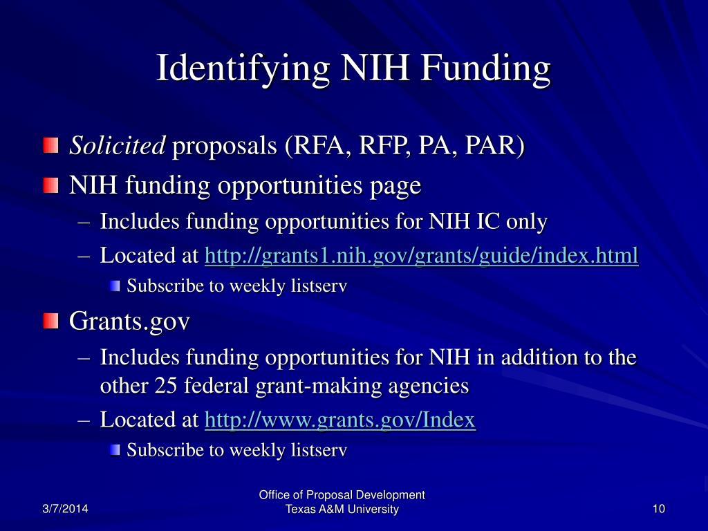 Identifying NIH Funding