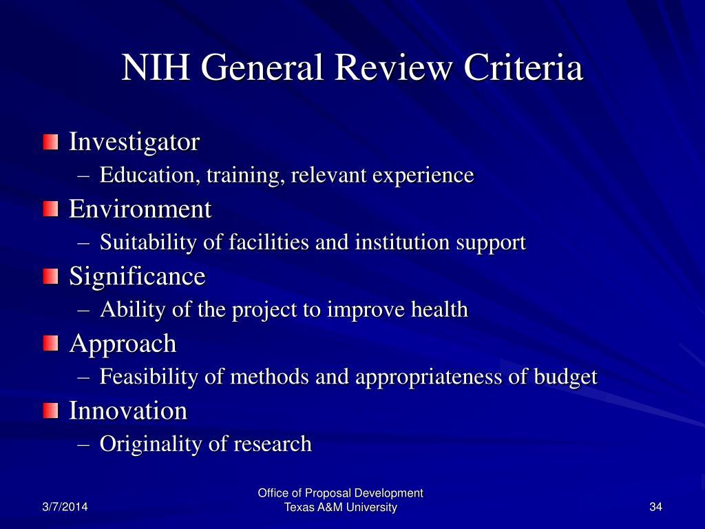 NIH General Review Criteria
