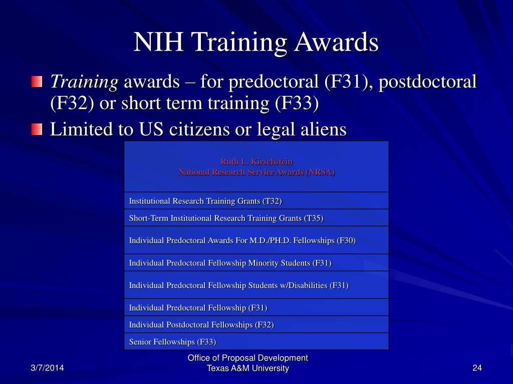 NIH Training Awards