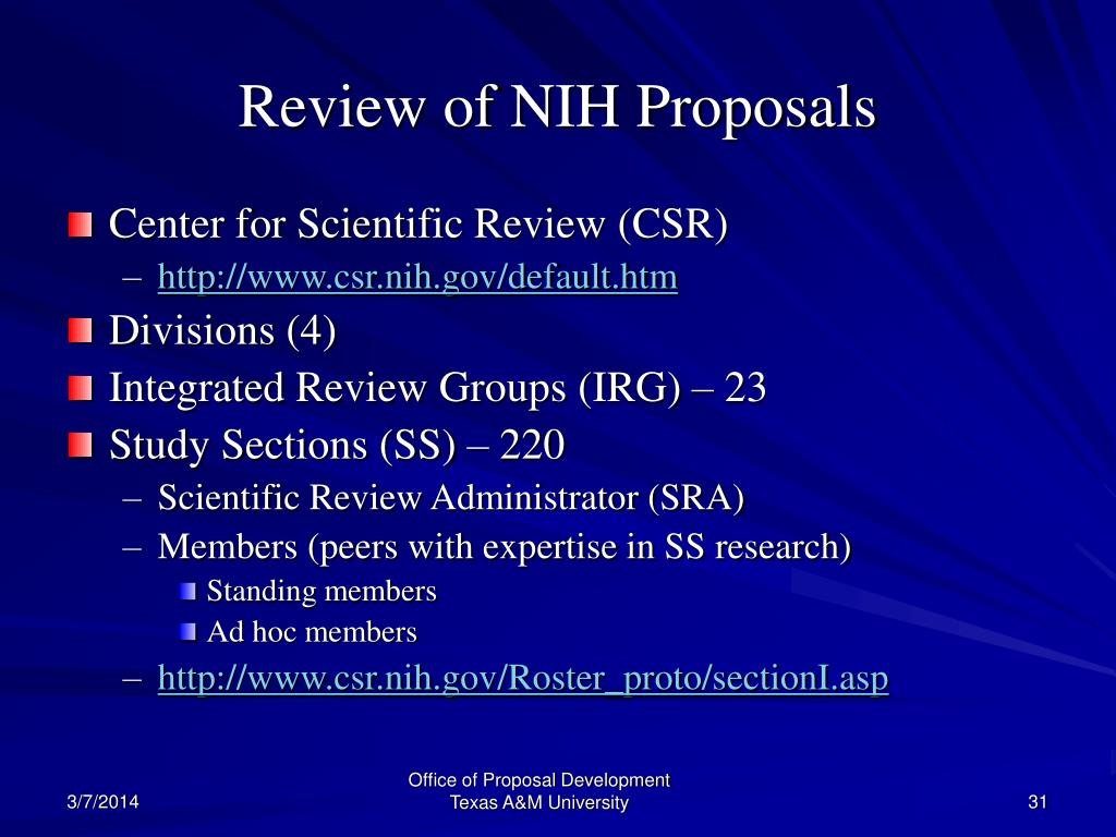 Review of NIH Proposals