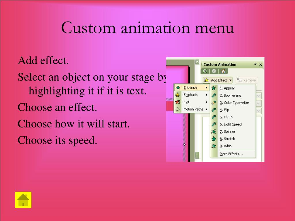 Custom animation menu