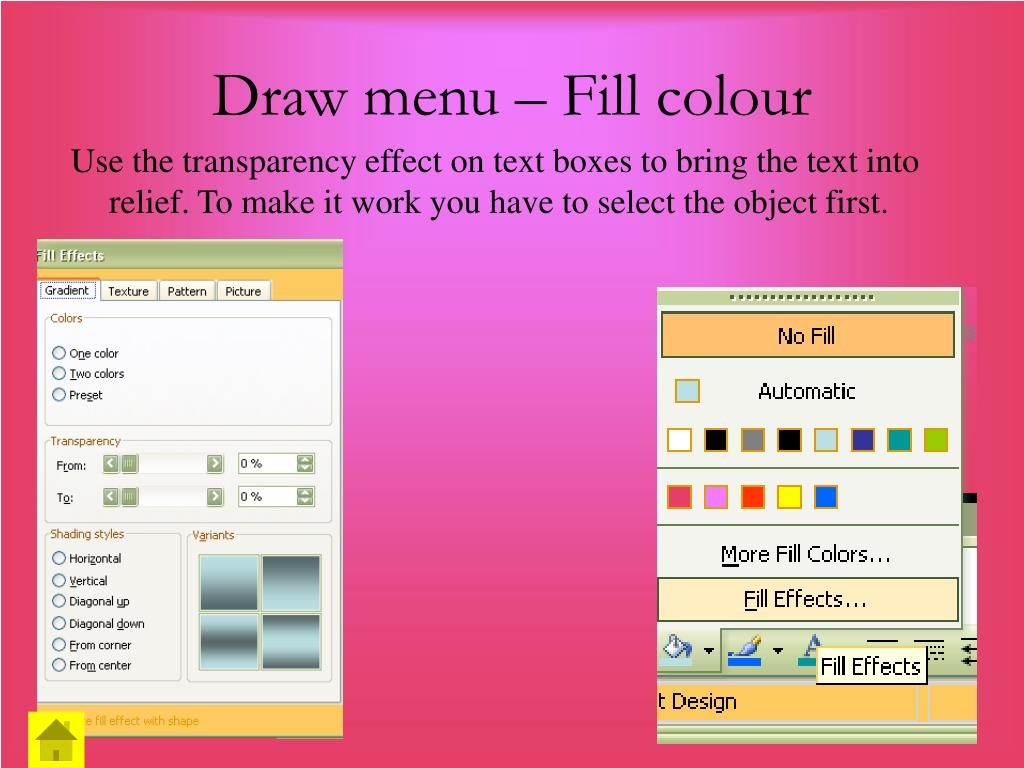 Draw menu – Fill colour