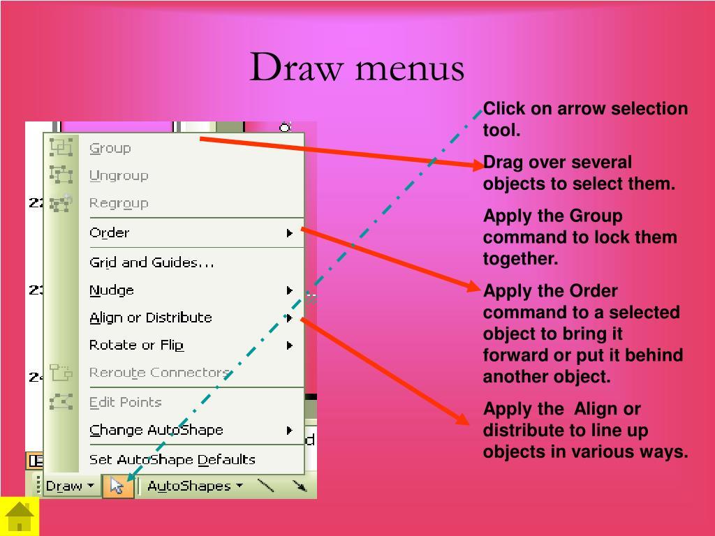 Draw menus