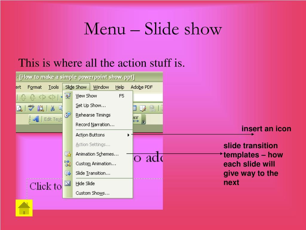 Menu – Slide show