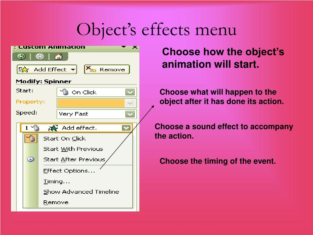 Object's effects menu