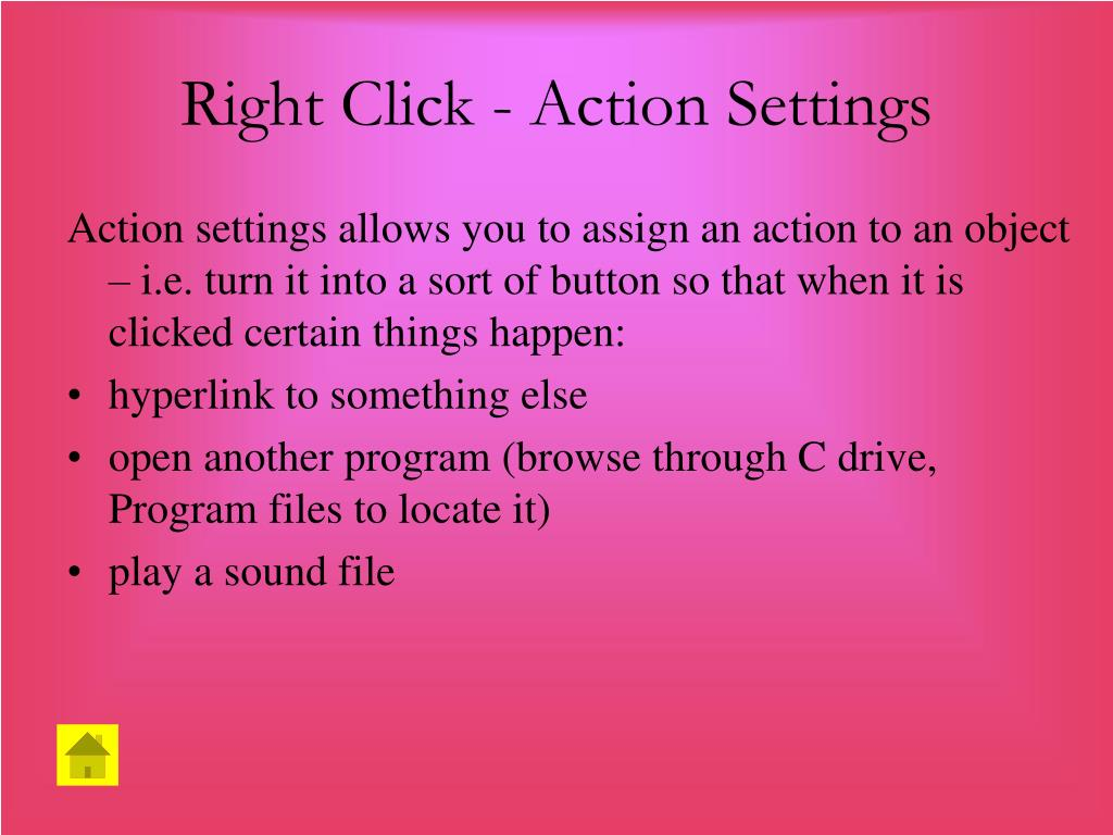 Right Click - Action Settings