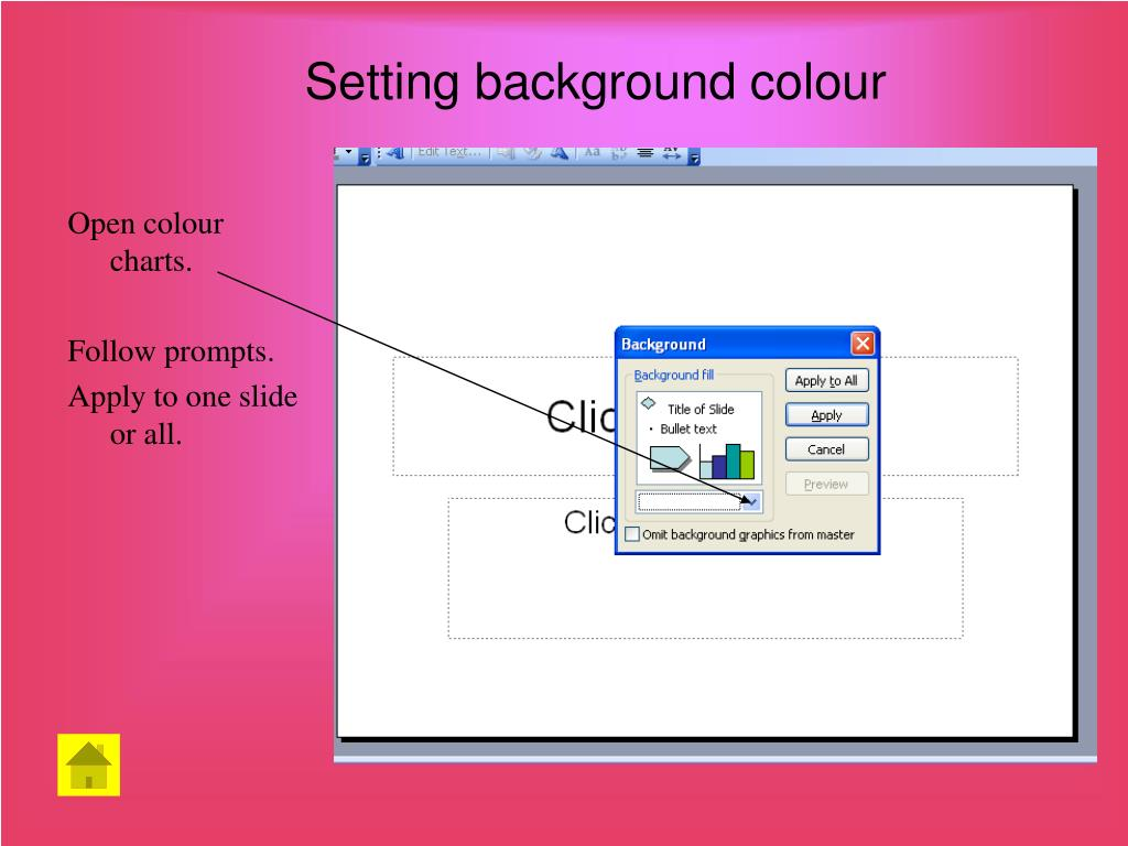 Setting background colour