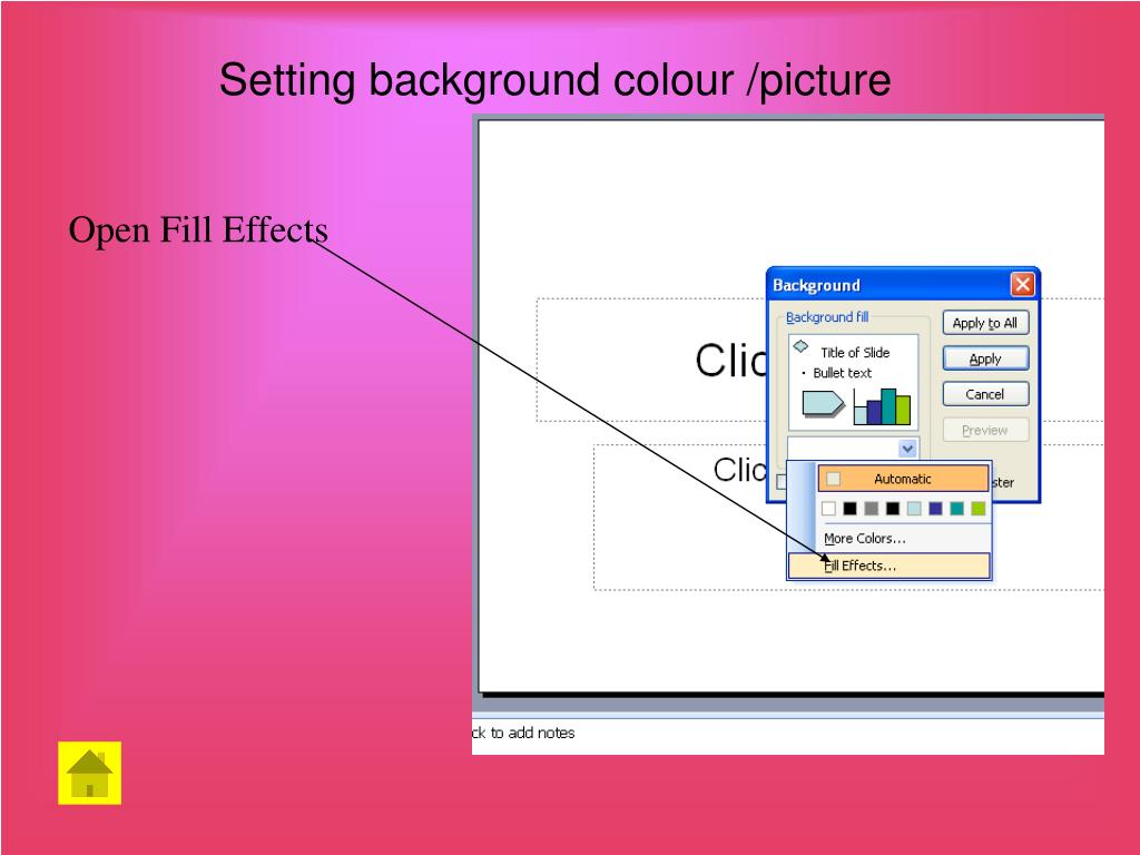 Setting background colour /picture