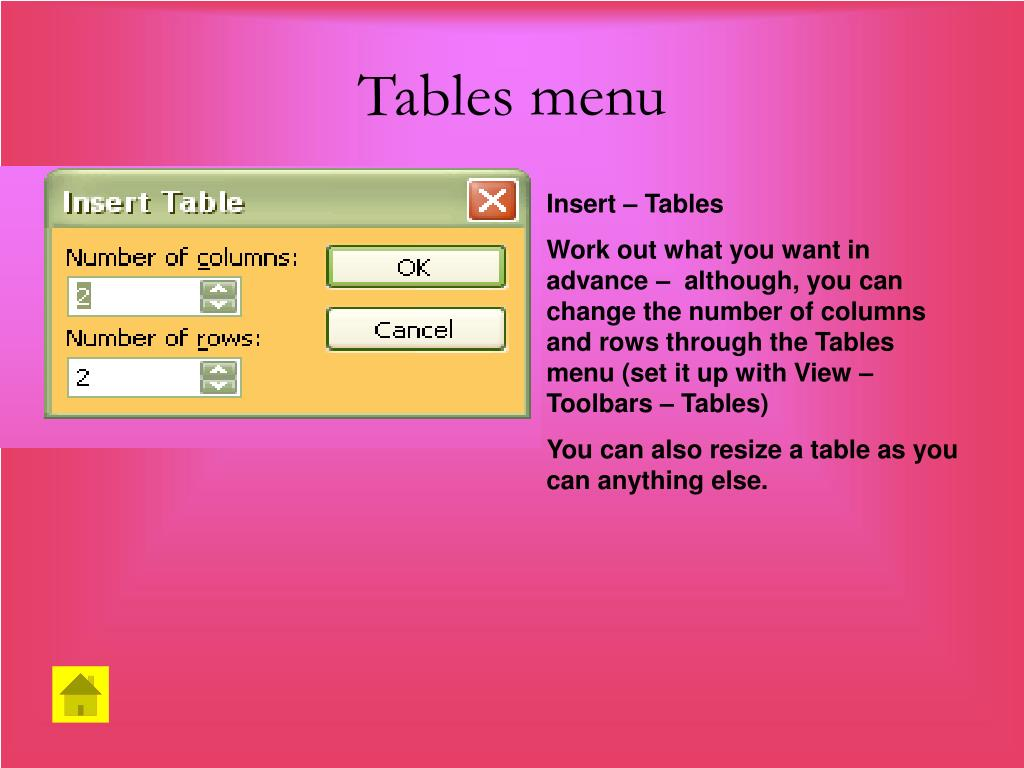 Tables menu