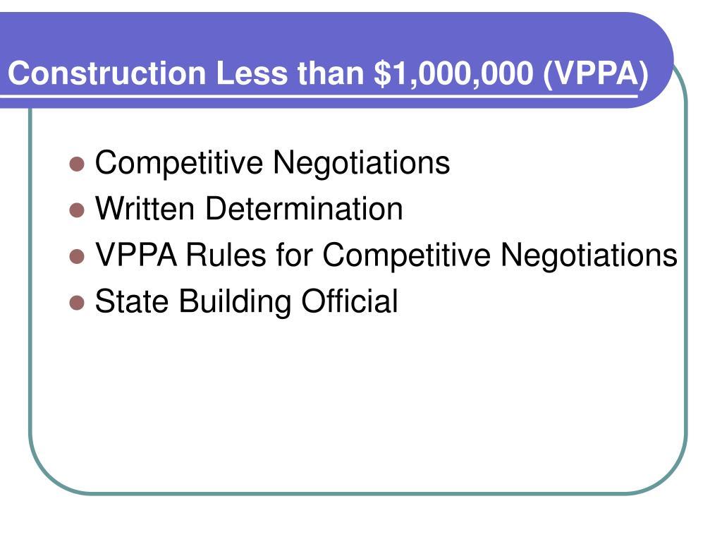 Construction Less than $1,000,000 (VPPA)