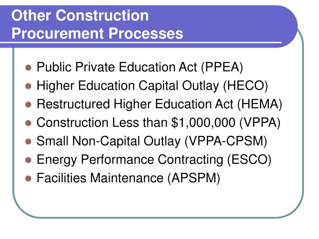 Other Construction Procurement Processes