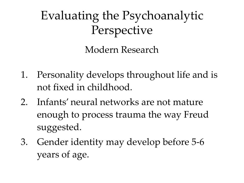 freud's psychoanalytic perspective All three aspects of psychoanalysis were originally developed by freud whose   freud's ideas about personality development and psychopathology, the.