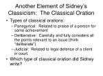 another element of sidney s classicism the classical oration