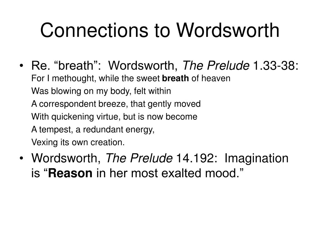 Connections to Wordsworth