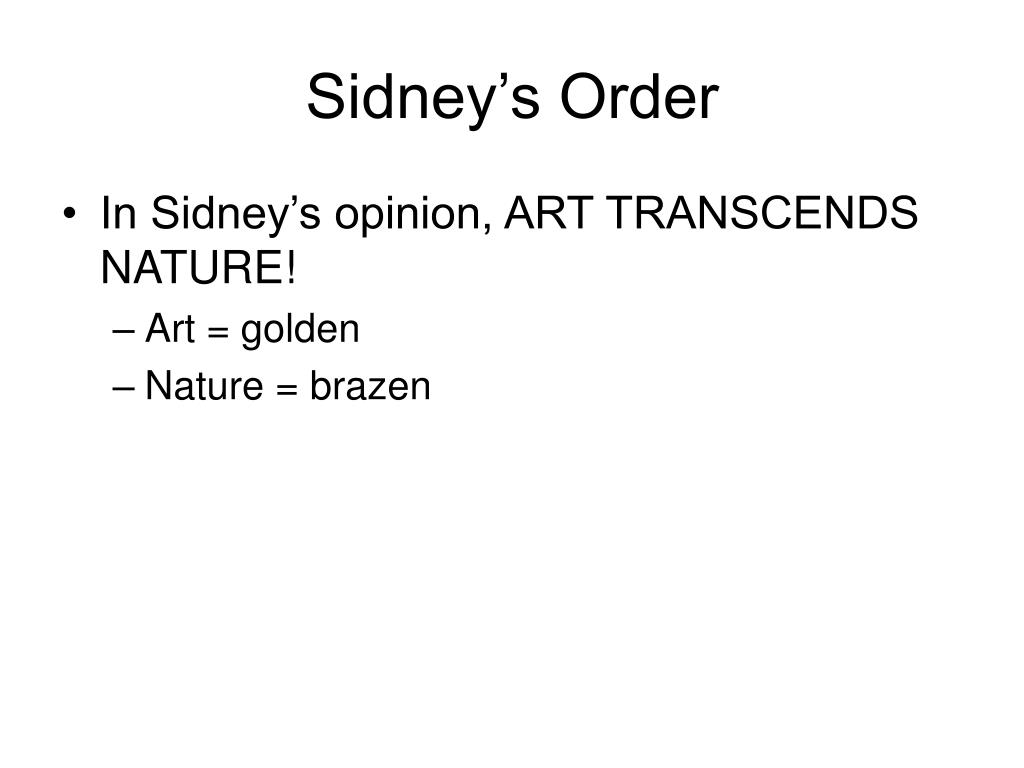 Sidney's Order