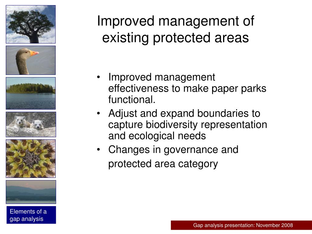 Improved management of existing protected areas