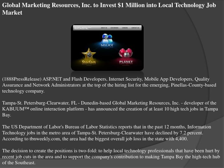 Global Marketing Resources, Inc. to Invest $1 Million into Local Technology Job Market