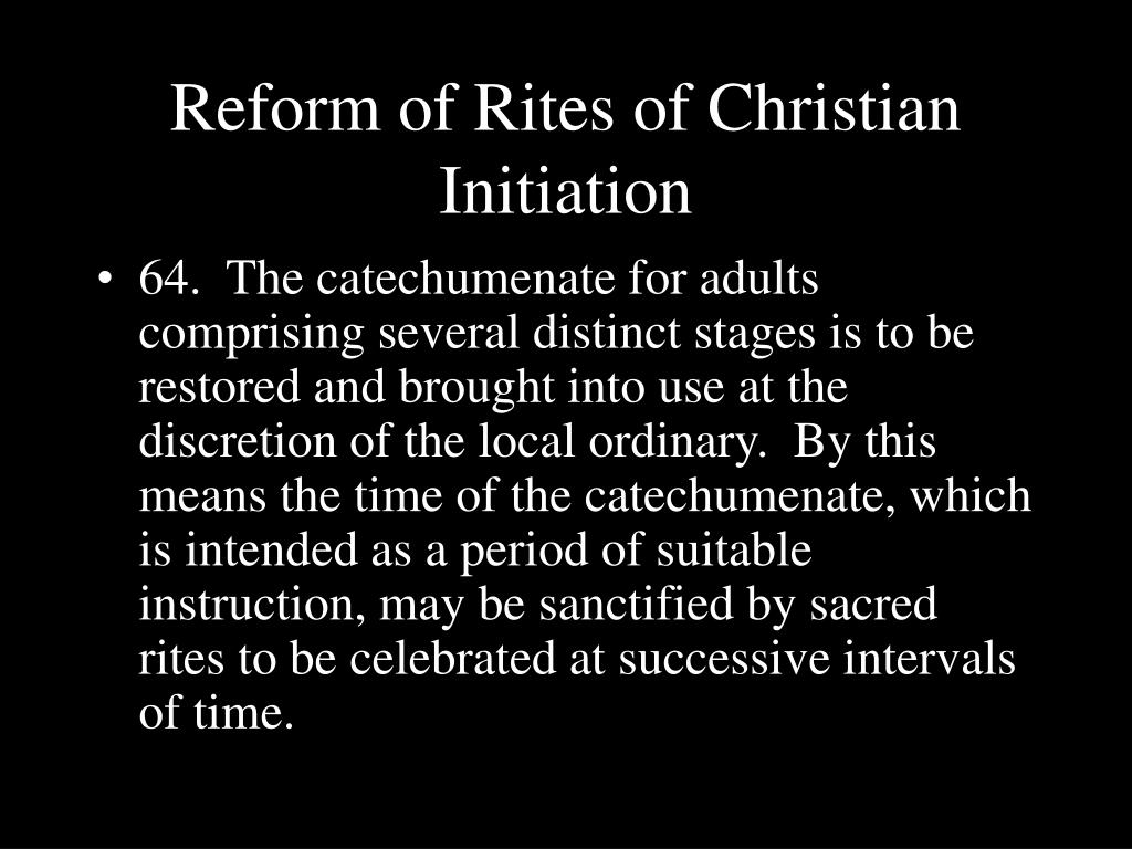 Reform of Rites of Christian Initiation