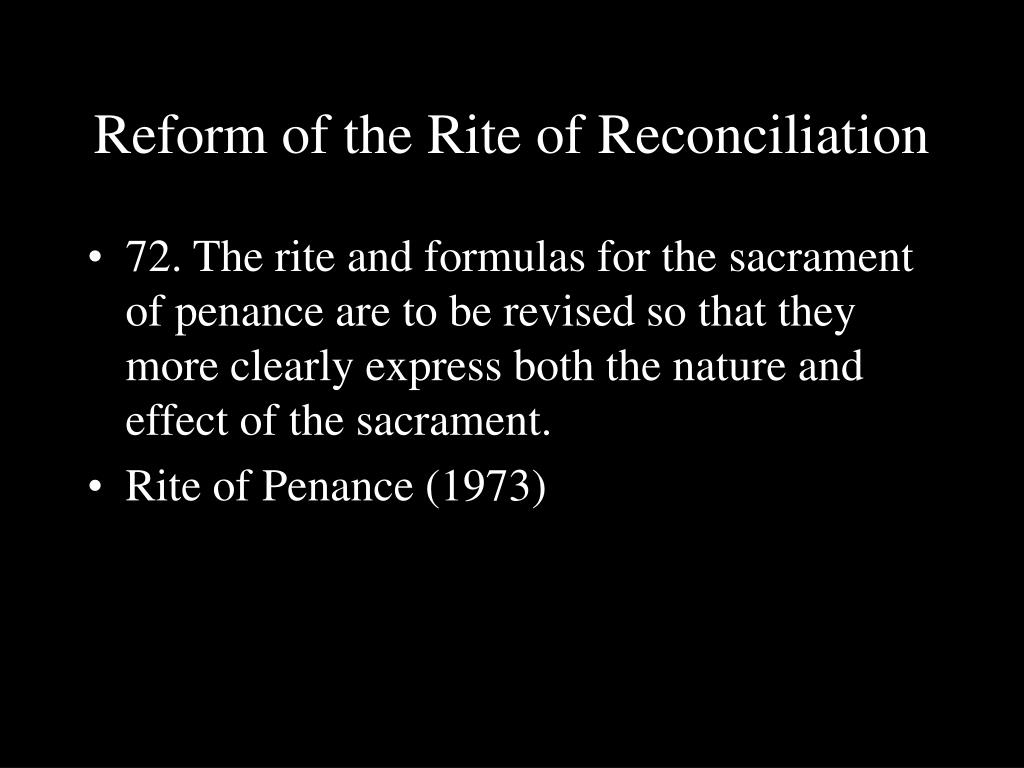 Reform of the Rite of Reconciliation
