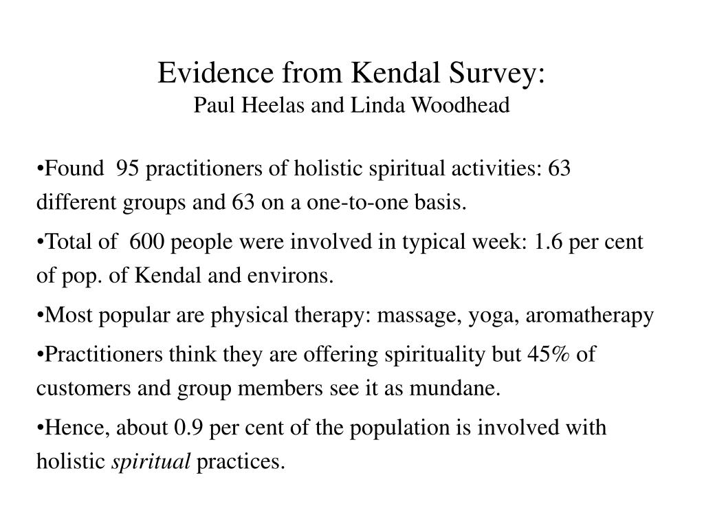 Evidence from Kendal Survey: