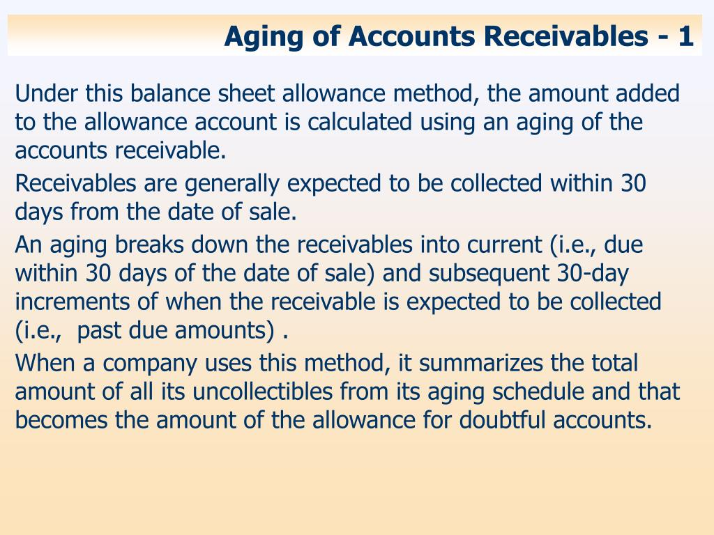 Aging of Accounts Receivables - 1
