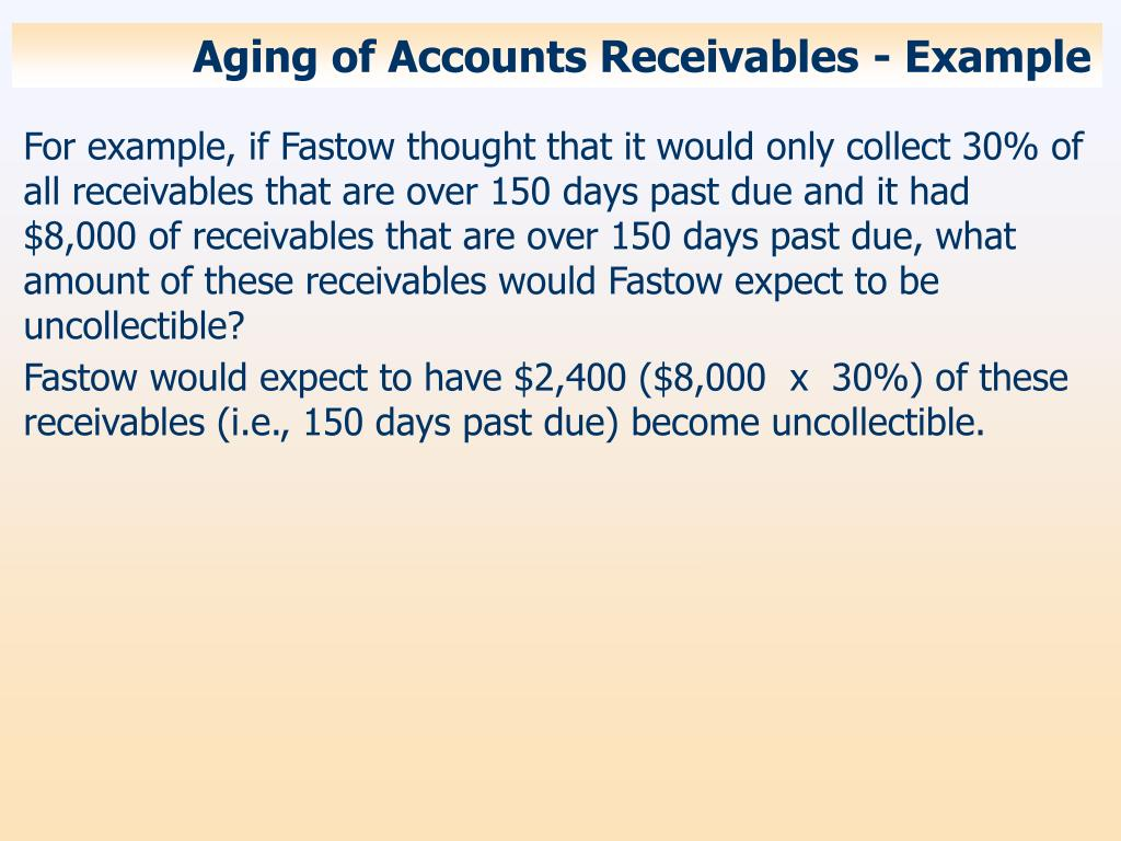 Aging of Accounts Receivables - Example