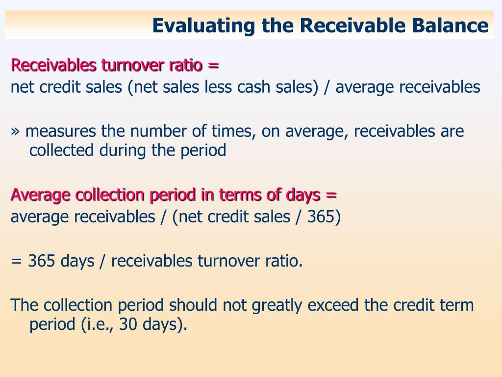 Evaluating the Receivable Balance