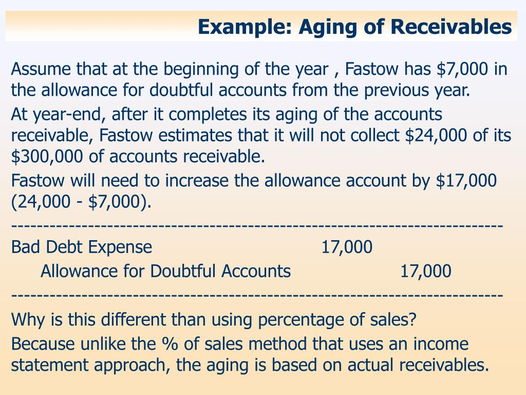 Example: Aging of Receivables
