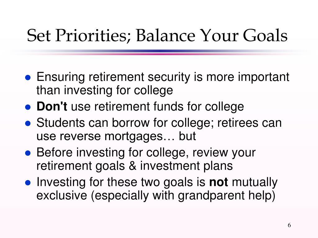 Set Priorities; Balance Your Goals