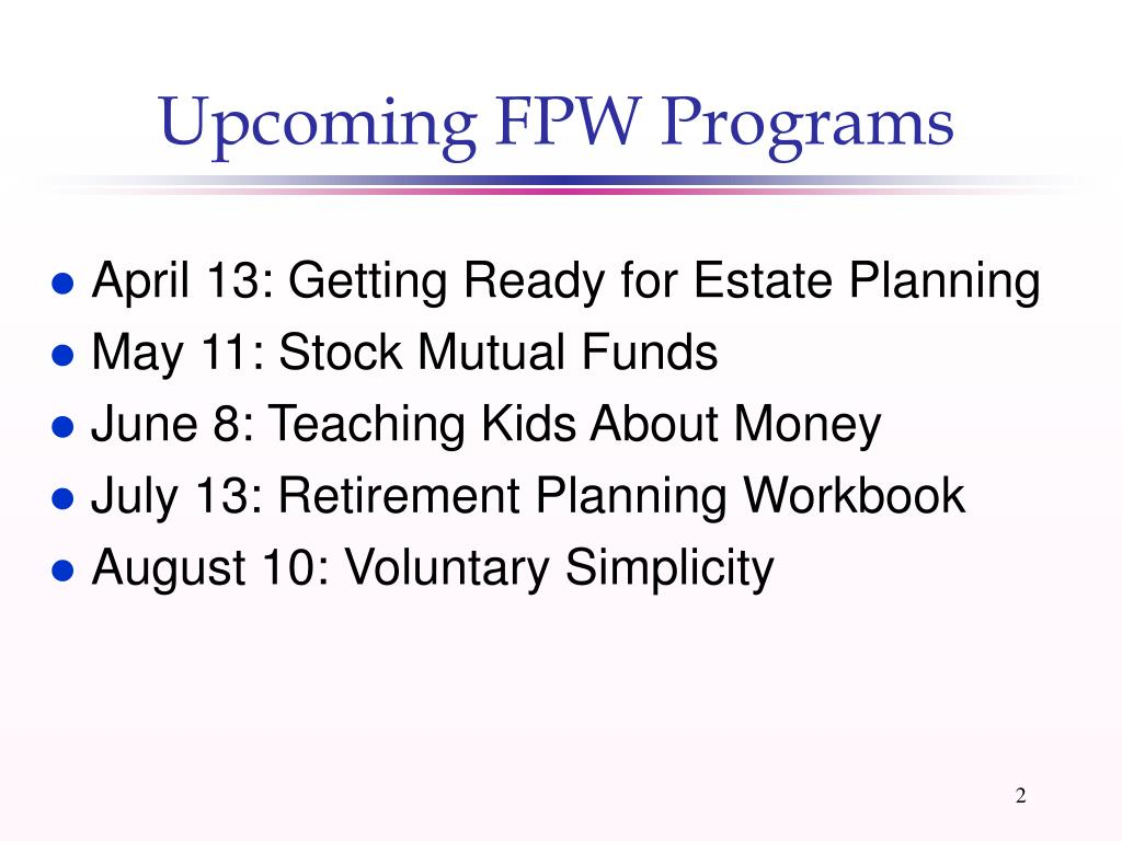 Upcoming FPW Programs