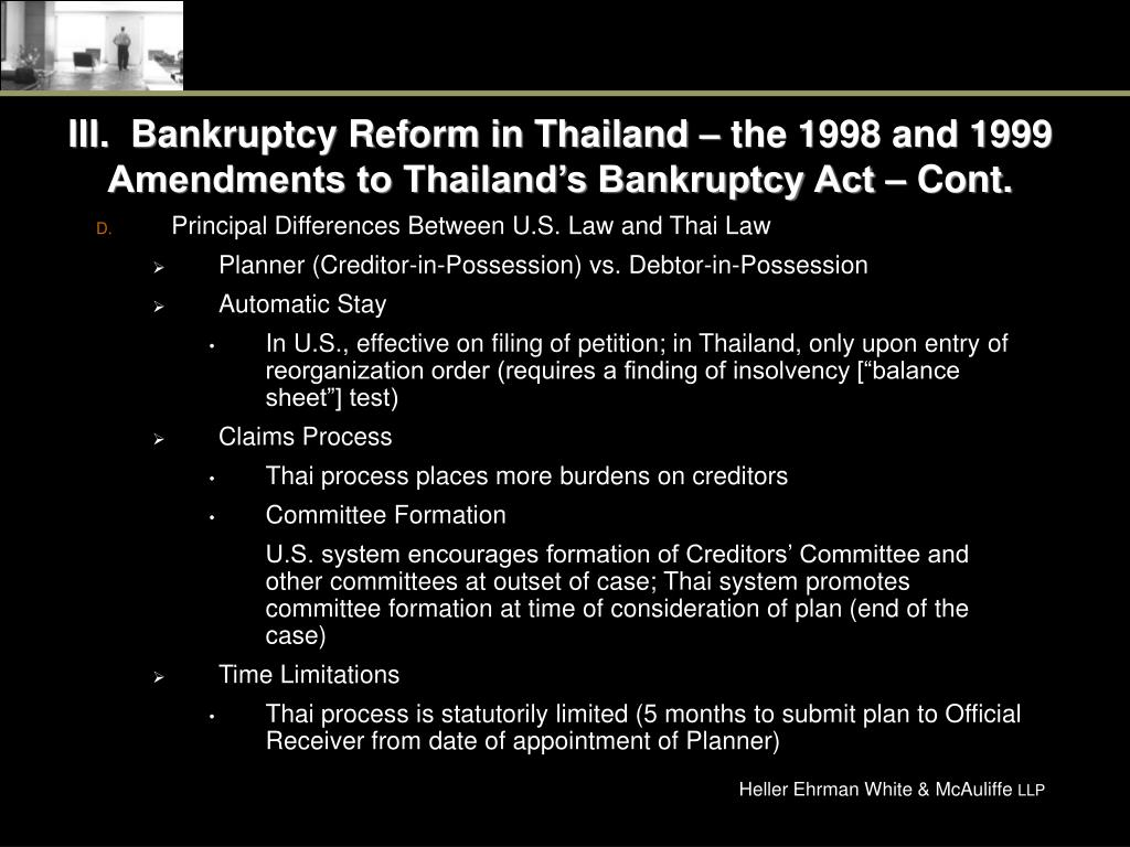 III.  Bankruptcy Reform in Thailand – the 1998 and 1999 Amendments to Thailand's Bankruptcy Act – Cont.
