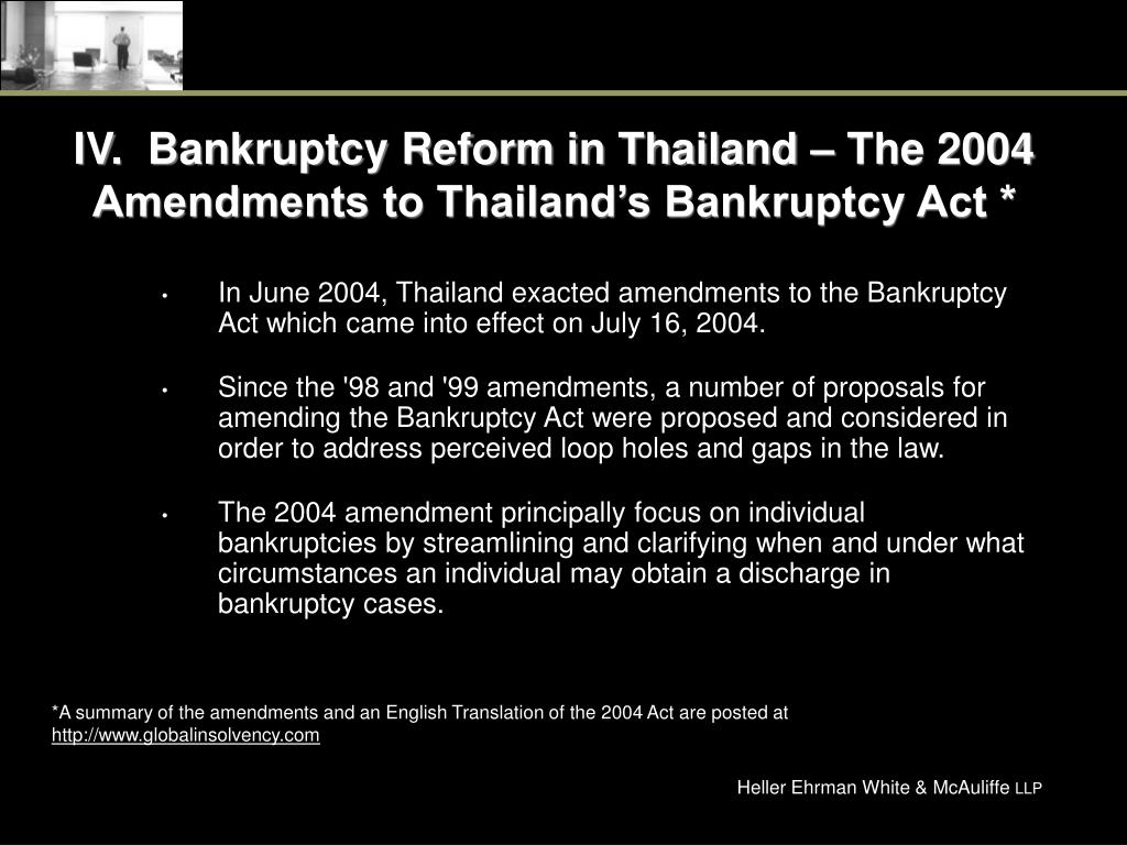 IV.  Bankruptcy Reform in Thailand – The 2004 Amendments to Thailand's Bankruptcy Act *