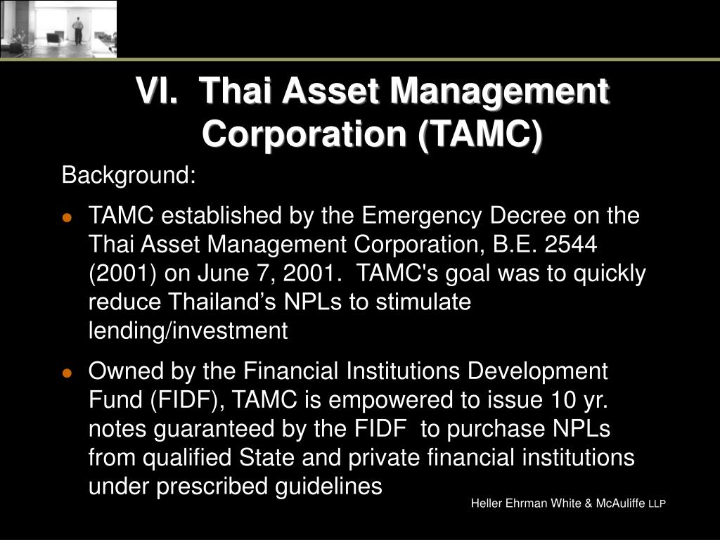 VI.  Thai Asset Management Corporation (TAMC)