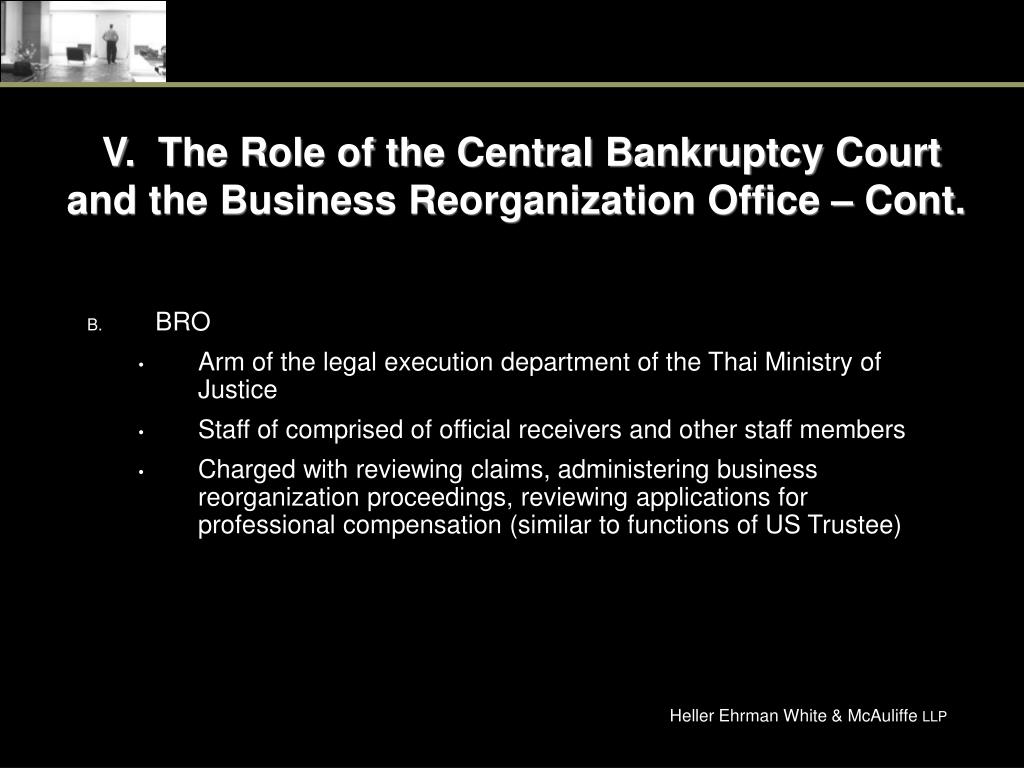 V.  The Role of the Central Bankruptcy Court and the Business Reorganization Office – Cont.