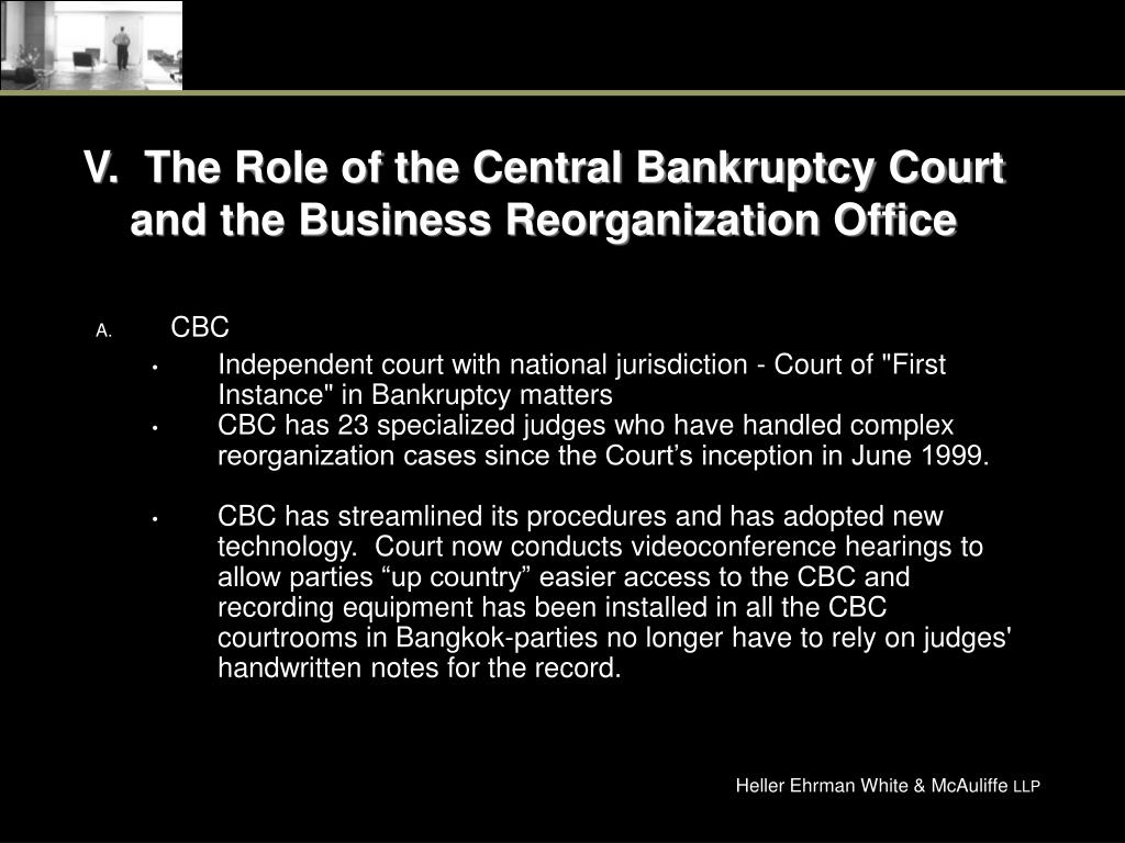 V.  The Role of the Central Bankruptcy Court and the Business Reorganization Office