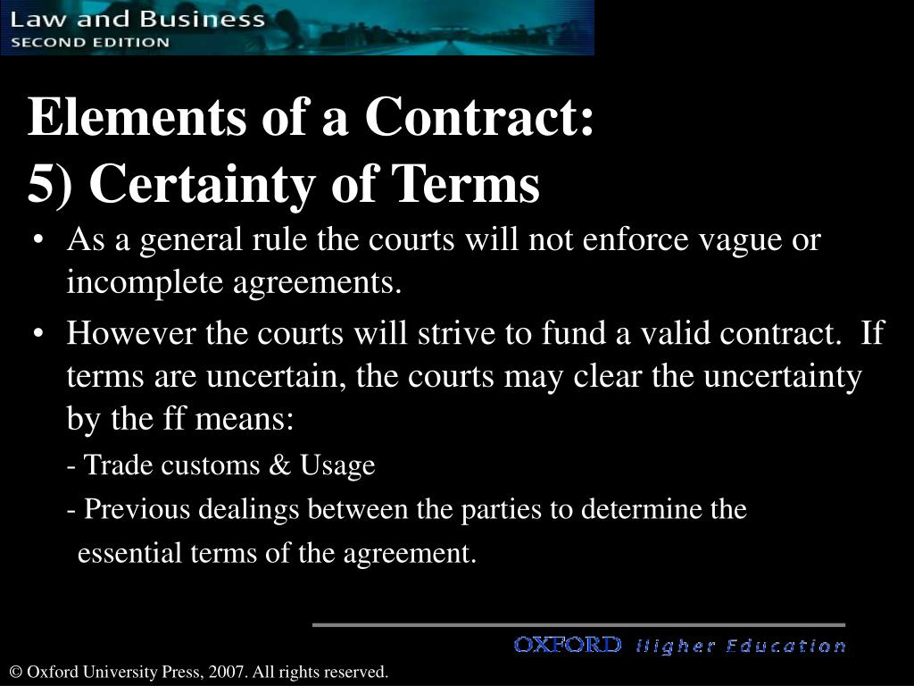 six essential elements of enforceable contracts Essential elements of a valid contract ( 2003 (30) mark question)  more people that is enforceable by law essential elements of a  binding contracts can only.
