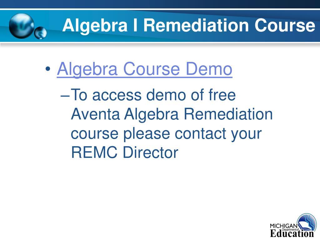 Algebra I Remediation Course