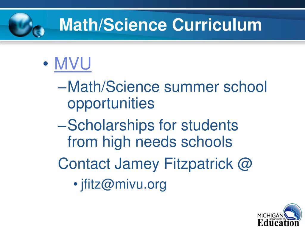 Math/Science Curriculum