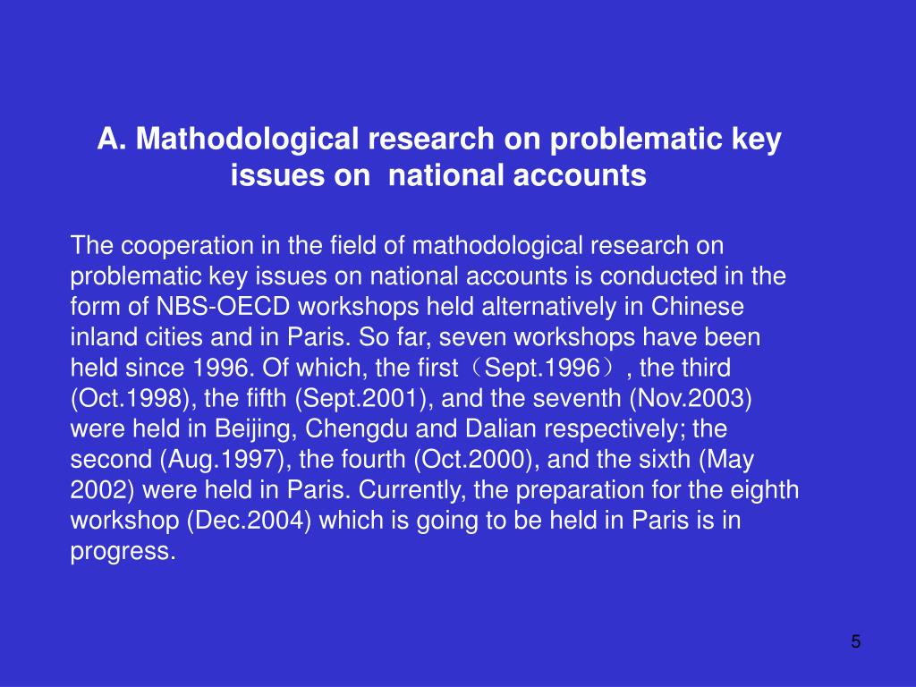 A. Mathodological research on problematic key issues on  national accounts
