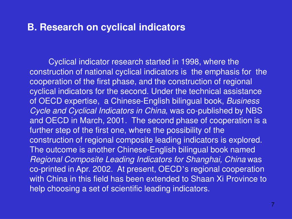 B. Research on cyclical indicators