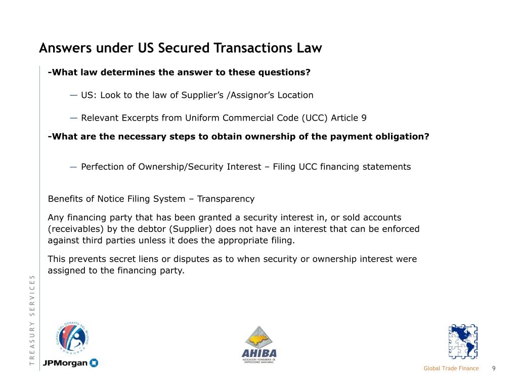 Answers under US Secured Transactions Law