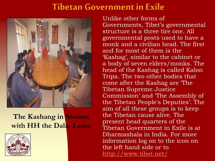 tibetan government in exile essay In response to pressure from the chinese government, kathmandu has decided to no longer provide the necessary documents to tibetan refugees to reach india, the residence of the dalai lama and his.