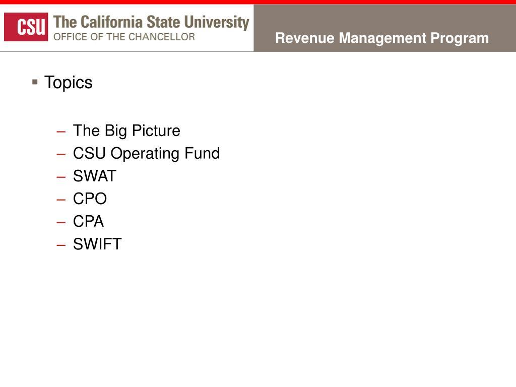 Revenue Management Program