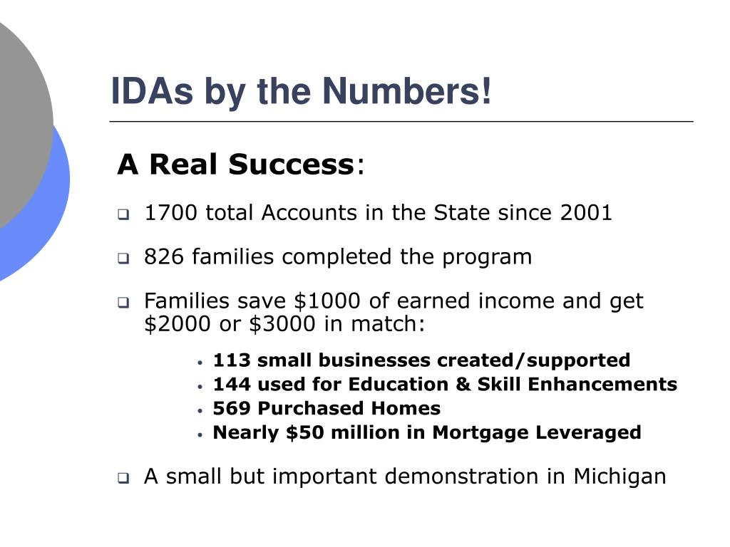 IDAs by the Numbers!