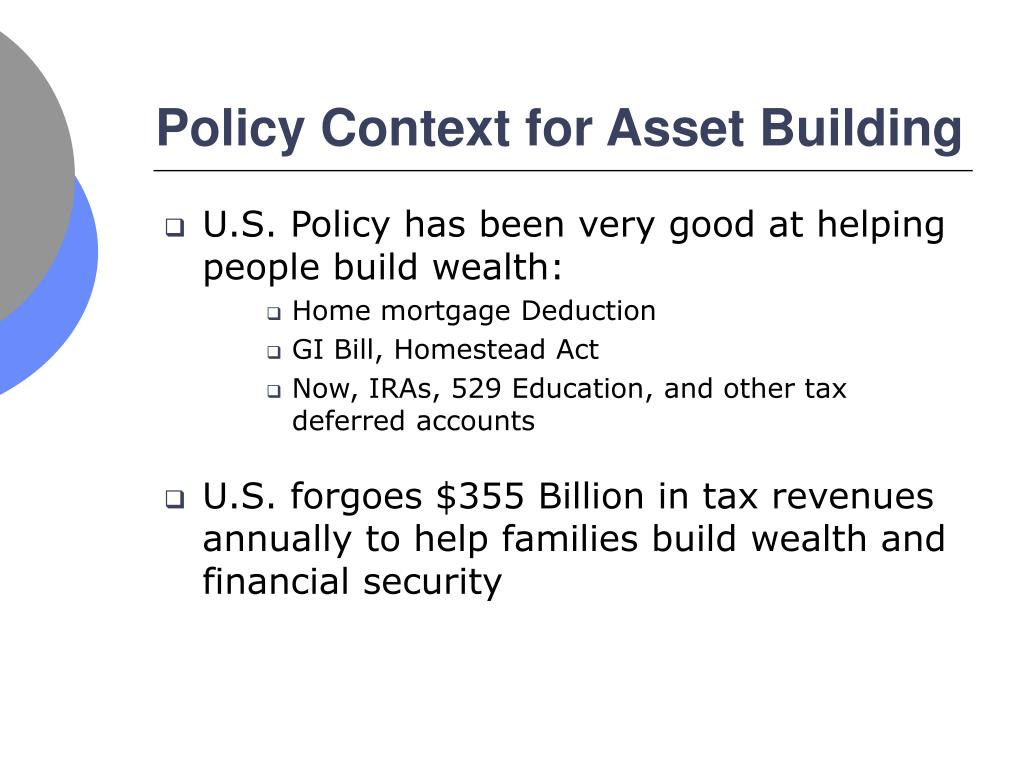 Policy Context for Asset Building