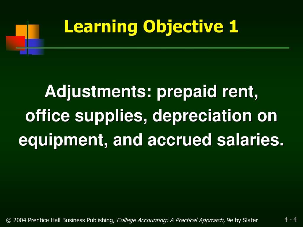 Adjustments: prepaid rent,