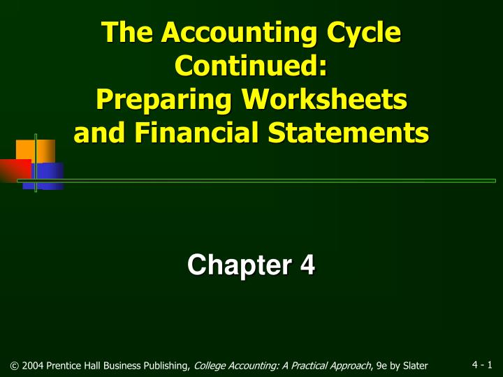 The accounting cycle continued preparing worksheets and financial statements