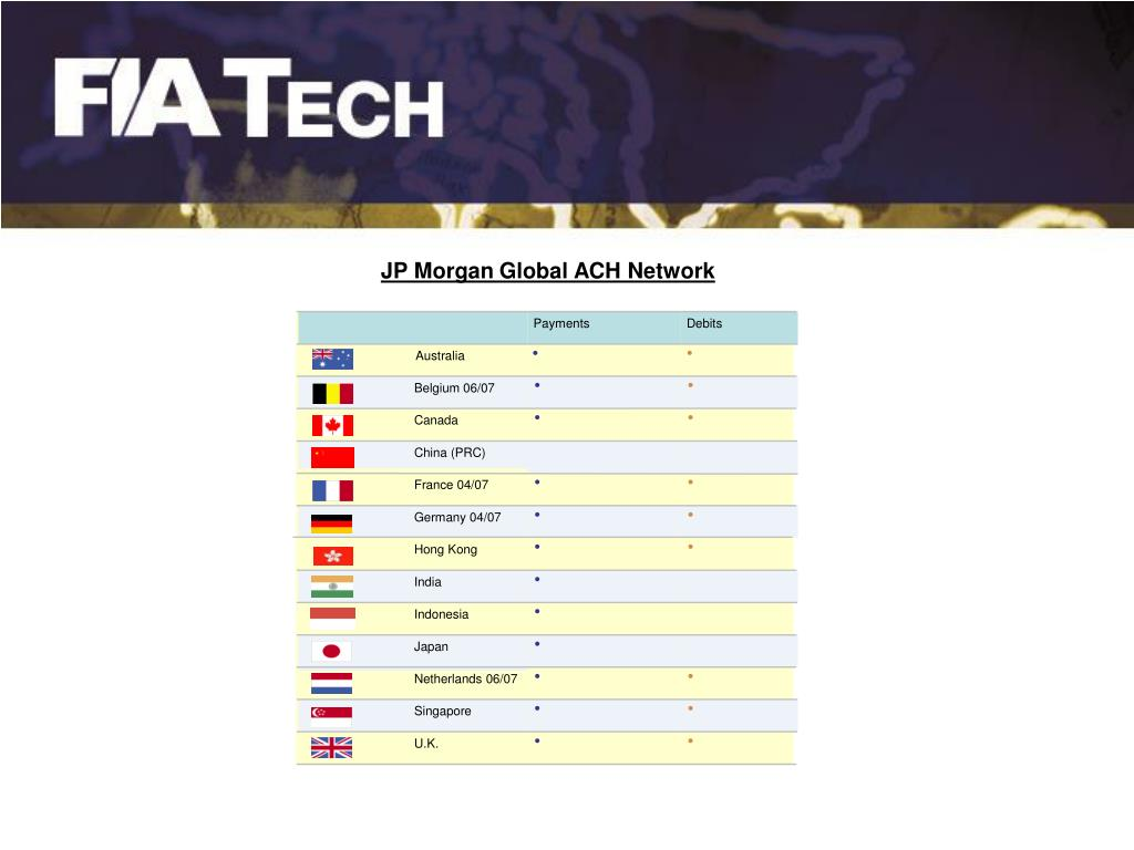 JP Morgan Global ACH Network